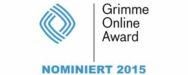 """Logo """"Grimme Online Award Nominiert 2015"""""""